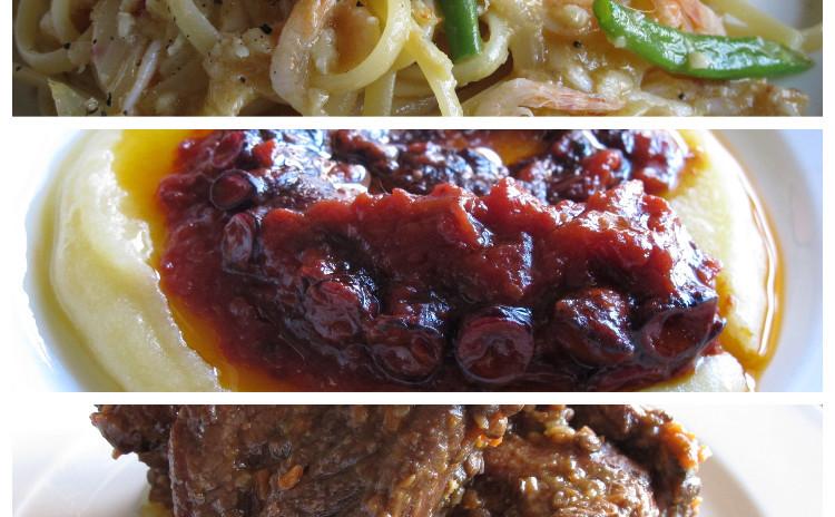 桜エビのパスタ、溺れダコのトマト煮、スペアリブとレンズ豆の煮込み