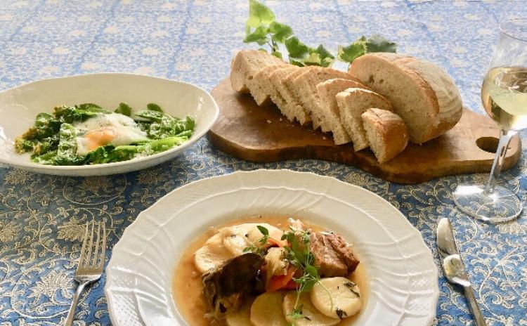 中種法でカンパーニュ〜ベッコフ&春野菜と温泉卵のサラダ〜