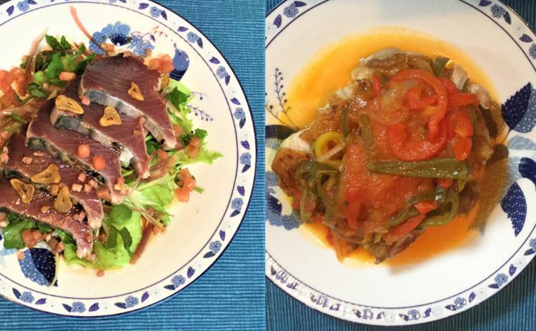 初夏のビストロ料理、初鰹のサラダと鶏もも肉のバスク風+サーモンとアボカドのケークサレ