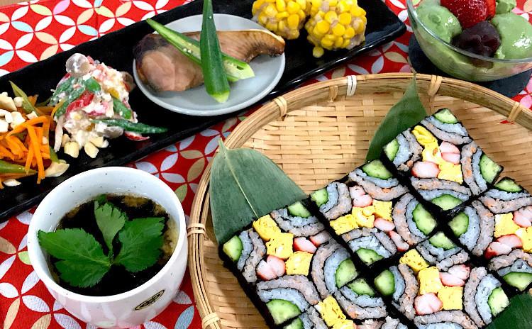 一度は作ってみたい飾り寿司☆華やか四海巻きに自家製西京焼き他7品の和食プレート