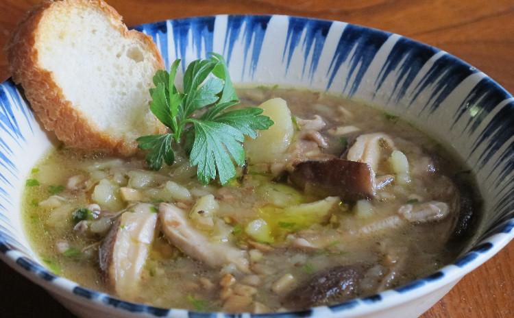 揚げナスのトマトソース「パスタアッラノルマ」豚ヒレ肉のパン包み焼き、シイタケのスープ他