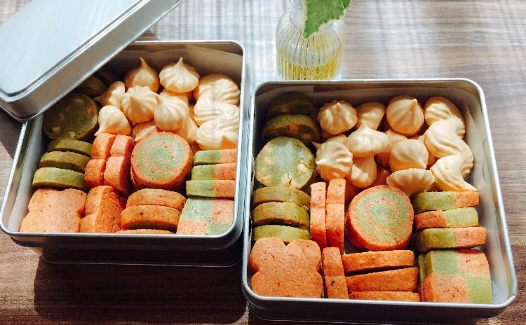 イチゴと抹茶のクッキー缶  アイスボックスクッキー&メレンゲクッキー ★復習セット付き(アイスボックスクッキーの粉&バター)