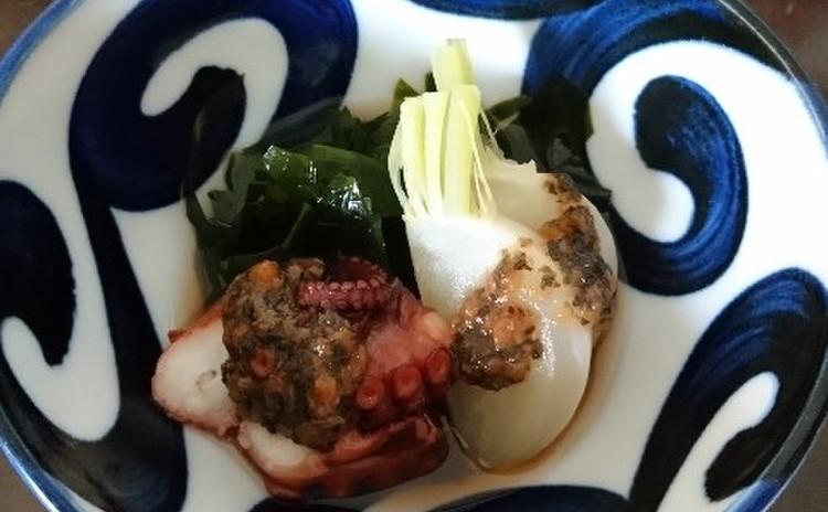 蛸、蕪、ワカメの梅煮