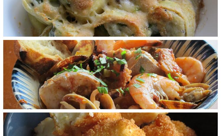 アスパラのクレスペッレ、トスカーナの魚介スープカッチュッコ、ラッテフリット