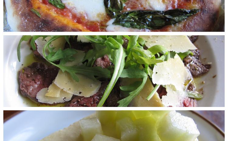 ピッツァマルゲリータ、タリアータ、メロンの冷たいケーキ
