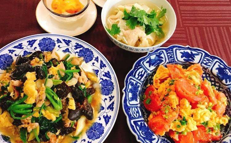 初夏の食材を使った中華料理4品(えびワンタン・いり卵の炒め物2品・豆乳ゼリーのフレッシュマンゴーソース)
