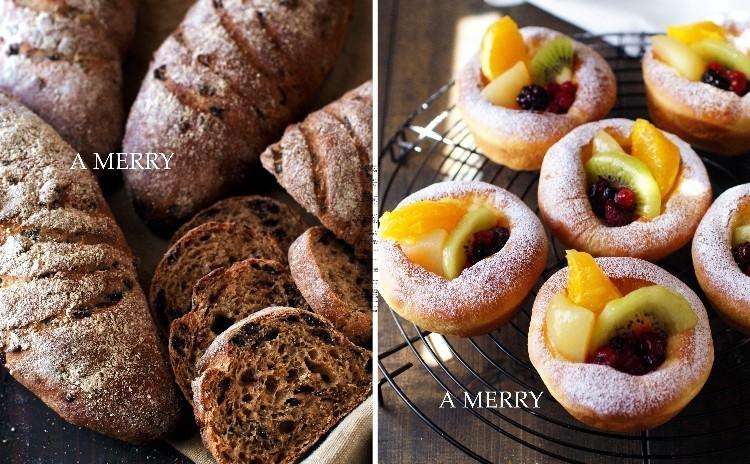 【ランチ付】初夏に爽やか~フレッシュフルーツのスイーツパンと味わい深い黒糖カレンズの2種類同時に!