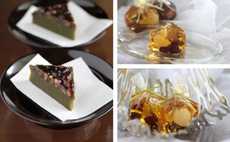 6月/焦げ蜜で大人味!「琥珀(錦玉羹)」と抹茶の風味豊か!「翡翠(抹茶水無月)」