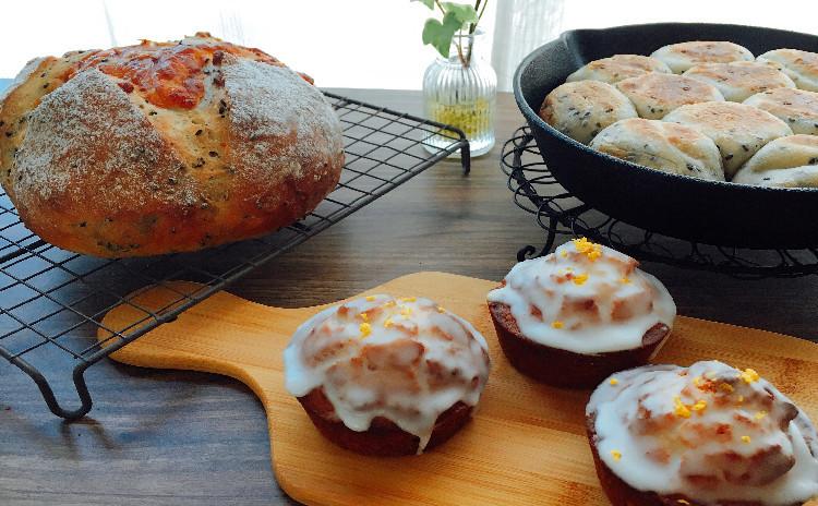 スキレットでごまのちぎりパン&ごまチーズ 発酵中にポリ袋で!はちみつレモンのオイルマフィン ☆復習セット付き(マフィンの粉)
