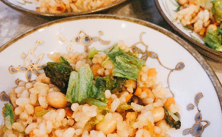 玄米レタス炒飯