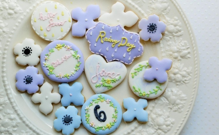 紫陽花のアイシングクッキーレッスン