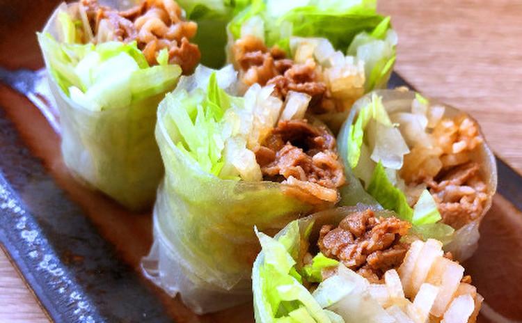 シャキシャキ野菜と味付き牛肉の生春巻き