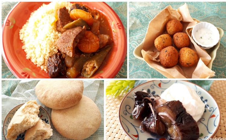 【魅惑のモロッコ料理】ラムとドライフルーツのクスクス・モロッコの丸パン・ファラフェル・生姜風味の茄子のコンフィ~濃厚ヨーグルト添え~