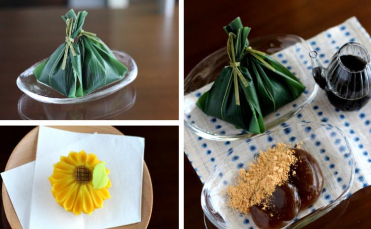 7月/もちもちぷる〜ん!「蓮粉もち」と「向日葵」(練り切り製)