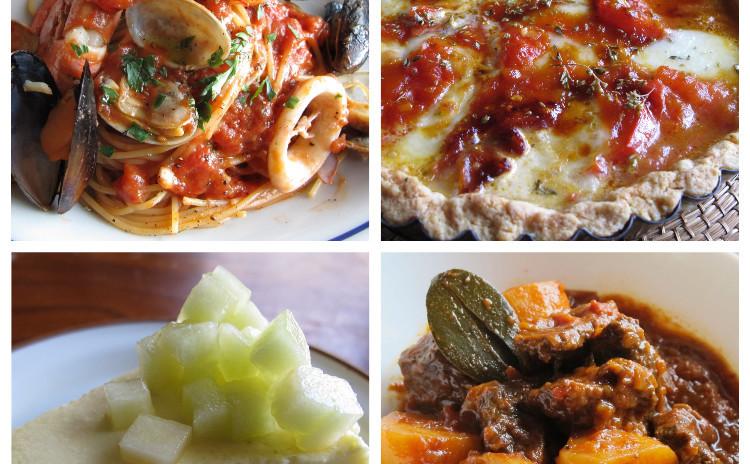 ペスカトーラ、グラーシュ、カラメルトマトとモッツァレラのタルト、メロンケーキ
