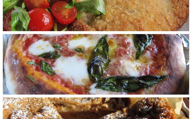 ピッツァマルゲリータ、ミラノ風カツレツ、パンとリンゴのケーキ