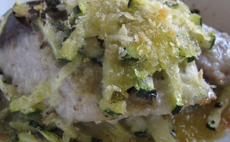 イナダと ズッキーニのオーブン焼きミント風味