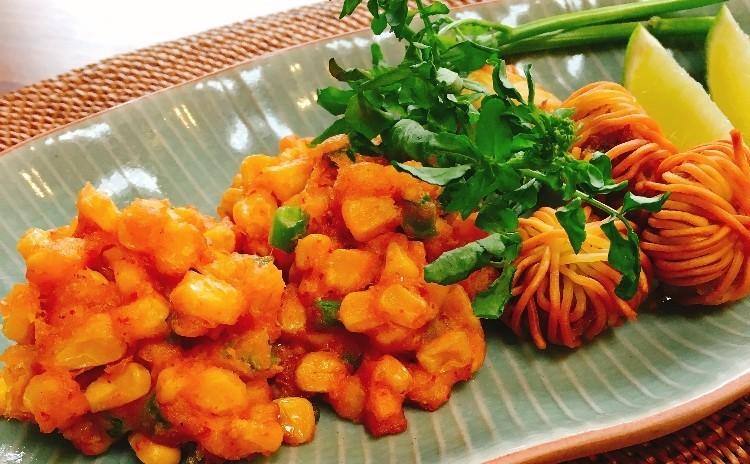 お皿の上で仕上げるお米のサラダと宮廷料理&旬食材の揚げ物を2種★