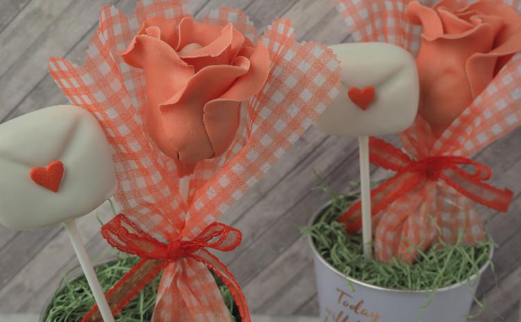 ケーキポップス講座♡バラ&手紙(ストロベリーチーズケーキ味)