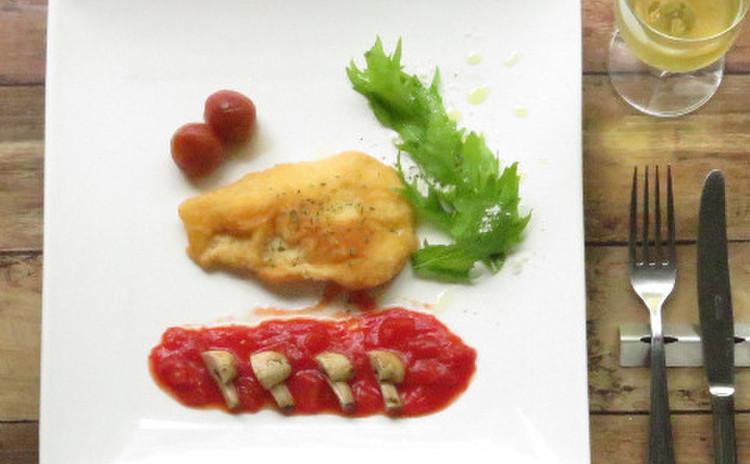 白身魚のベニエ~簡単ラタトゥイユソース~