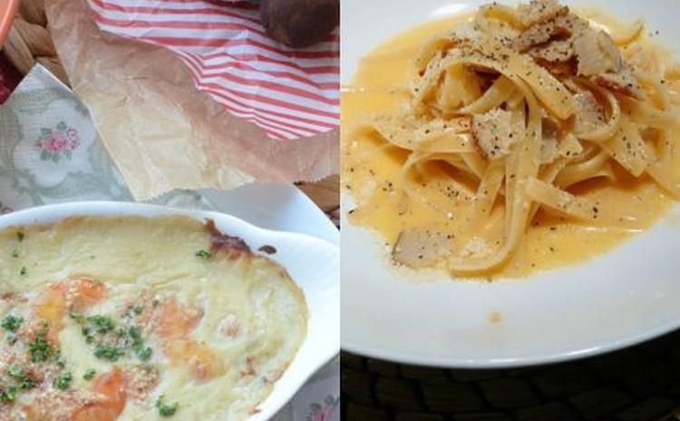 豆乳とココナッツオイルを使ったエビグラタン&卵、チーズ、ベーコンで作る生クリームフリーのカルボナーラ