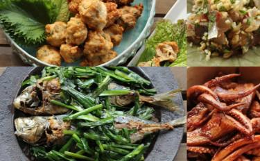 アジと夏野菜で5品!ニラたっぷりアジの煮魚、つみれ揚げで野菜巻き巻き、ぶっかけ冷汁、アジ刺しモロヘイヤソース