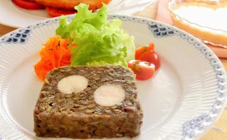 再レッスン◇レンズ豆のテリーヌ サーモンのパルメザンチーズ焼き