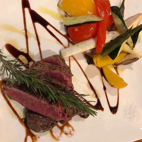ブランド牛のステーキ&野菜のグリル