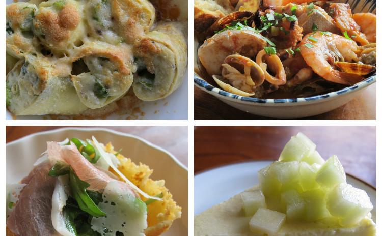 アスパラのクレスペッレ、魚介のスープカッチュッッコ、パルミジャーノレジャーノのチェスティーニ他