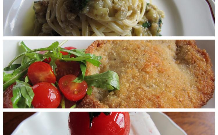 焼きナスの冷製パスタ、ミラノ風カツレツ、トマトのセミフレッド