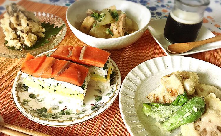 夏の和食御膳☆サーモンの押し寿司とレンコンのはさみ揚げ他3品