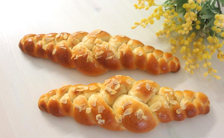 アーモンドのやさしさ♪ふんわり&しっとり編みパン♥ホシノ天然酵母のアーモンドツオップ~手作りランチとカフェ&スイーツ付き♥