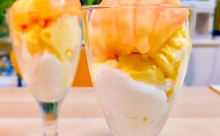 季節限定♪桃のソースとパルフェ