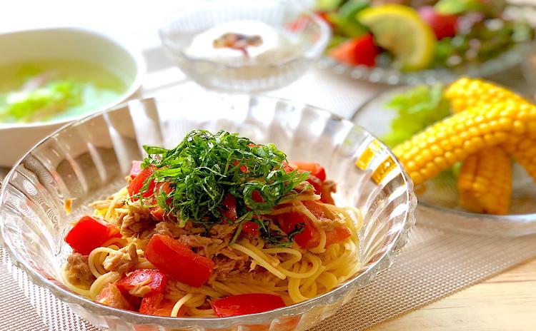 夏にぴったりのイタリアンです♪ツナとトマトの冷製パスタ〜アボカドと豚こま肉のサラダ&とうもろこしの唐揚げ♪イタリアンアイスデザートです