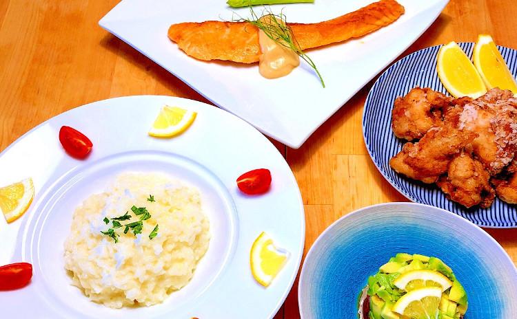 レモン料理レッスン!レモン使いでお料理上手に!サーモンのムニエル味噌レモンソース添え、スパイシー塩レモン竜田揚げなど4品!セミプライベートレッスンの実習スタイルでお1人ずつお作りいただけます。