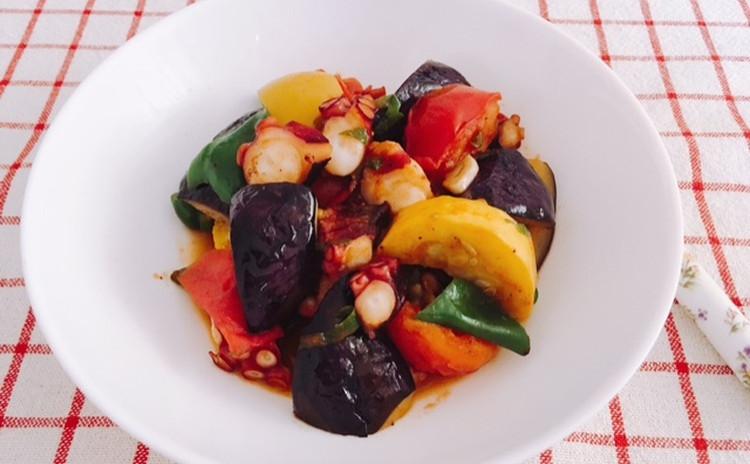 鶏手羽のポン酢煮・タコの夏野菜炒め・冬瓜と海老のスープ・生姜ご飯・ジャスミンティーゼリー