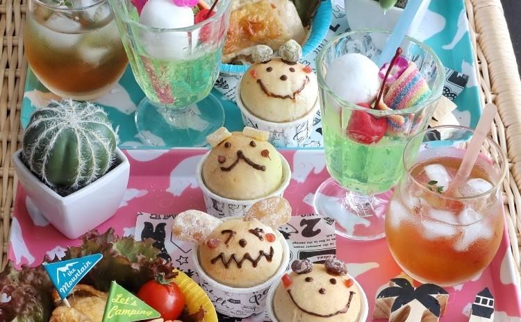 夏休み!親子レッスン♬動物パンと揚げないから揚げとクリームソーダゼリーと本格アイスティレッスン♡
