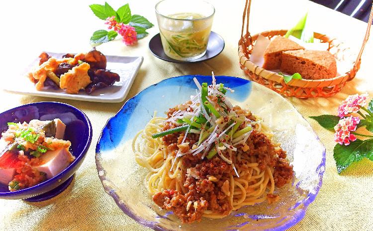 夏のひんやり中華! 汁なし冷やし担々麵とサッパリ副菜&黒糖蒸しパン ※8月のみクスパで4500円