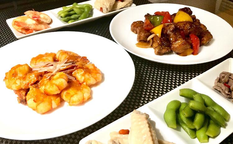 【お家中華決定版!】黒酢の酢豚、エビチリ、中華冷菜、クレープ他全6品