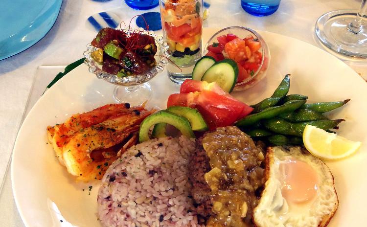 【夏のスペシャルレッスン♪】ハワイ風ロコモコプレート♪魚介おかず&夏野菜盛り沢山副菜♪ハワイアンデザートも♡3日間限定お土産付♡♪