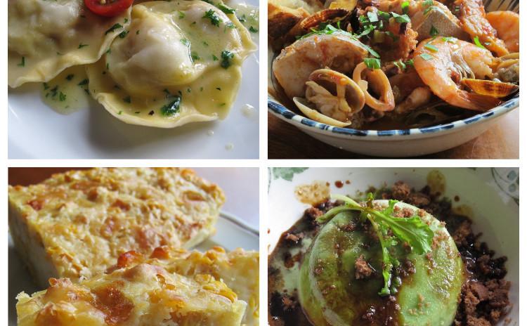 ホタテのラビオリ、魚介の煮込みカッチュッコ、トウモロコシのトルタサラータ、ルッコラのセミフレッド
