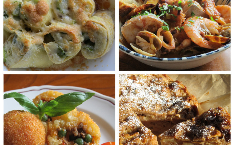 アスパラのクレスペッレ、魚介の煮込みカッチュッコ、アランチーニ、パンとリンゴのケーキ