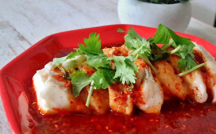 白身魚と豆腐の辛ソース
