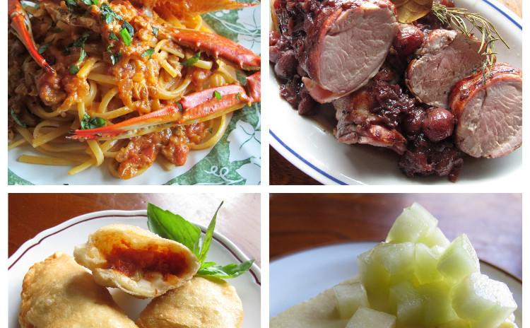 渡り蟹のトマトクリームパスタ、豚ヒレ肉のオーブン焼きブドウソース、揚げピザ、メロンの冷たいケーキ