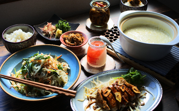 【600kcalごはん】ガッツリ食べてばっちり充電!トンテキ定食を作ろう☆和風コールスロー、3種キノコのなめ茸、なめらか豆腐 他