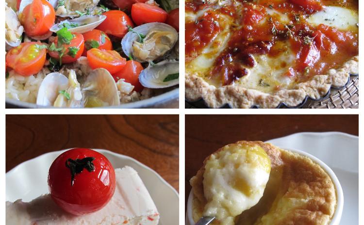 アサリとジャガイモのティエッラ、カラメルトマトのトルタ、トマトのセミフレッド、マンゴーガナッシュのフォンダン
