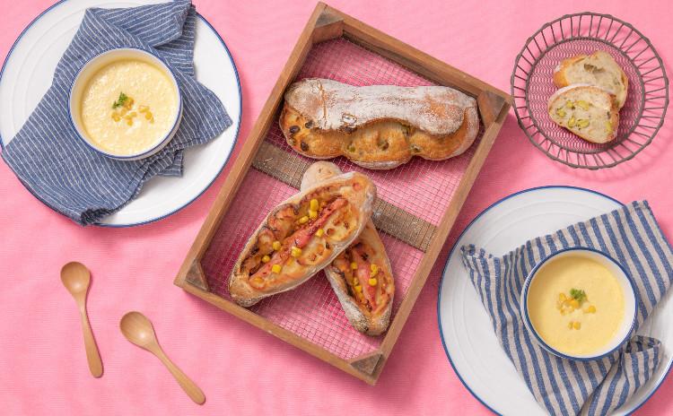 甘酒酵母パン!枝豆ハードパン、焼きもろこし風味ベーコンフィセル&簡単冷製コーンスープ