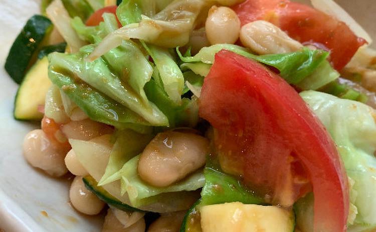 白いんげんと野菜の腸活サラダ
