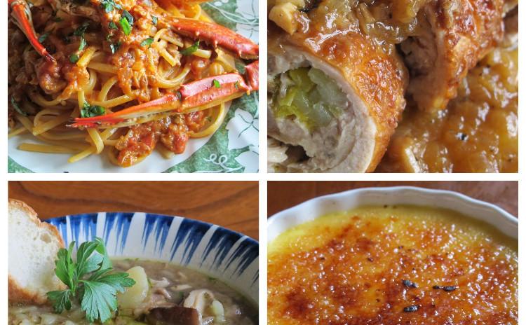 渡り蟹のトマトクリームパスタ、チキンロールのマスタード風味、椎茸のスープ、クレマカタラーナ