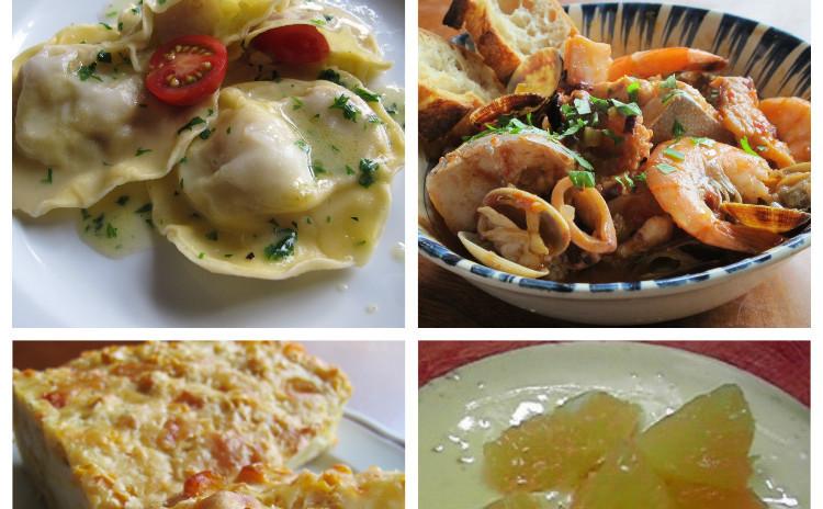 ホタテのラビオリ、魚介の煮込みカッチュッコ、トウモロコシのトルタサラータ、オレンジ風味のザバイオーネ